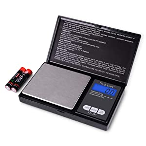 Fuzion Digital Pocket Scale, 200g/0.01g Mini Scale Gram and Ounce, Portable Travel Food Scale, Jewelry Scale with Back-Lit LCD, Stainless Steel, Tare, Battery Included