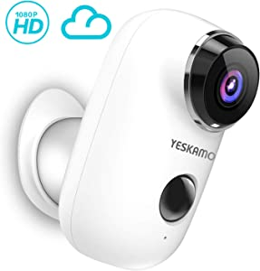 Wireless Security Camera Battery Powered 1080P HD Home Camera, Indoor/Outdoor WiFi Camera House Video Surveillance 2 Way Audio, YESKAMO Wire Free IP Camera Motion Detection
