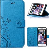 Iphone6 plus/iphone6s plus Wallet Case, Apple 5.5inch iphone6s plus Beautiful Case, Flower Butterfly Pattern Premium PU Leather Wallet Case with Wrist Strap Flip Case Cover (blue)