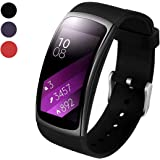 BeYself for Gear Fit2 Pro/Fit2 Strap, Replacement Soft Silicone Accessories Wristband for Samsung Gear Fit 2 Pro SM-R365/Gear Fit2 SM-R360 Smartwatch (Black)
