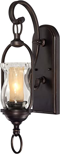 Savoy House 9-6723-1-213 Sconce with Clear Water Glass with Amber Chimney Shades, English Bronze with Gold Finish