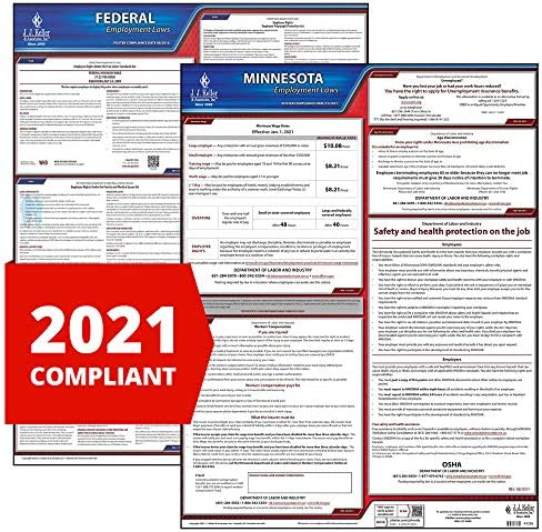 OSHA Compliant MN State 20 W x 26 H Keller /& Associates /& Federal 2020 Minnesota /& Federal Labor Law 2-Poster Set J J 20 W x 26 H English Laminated Poster Set for Workplace Compliance