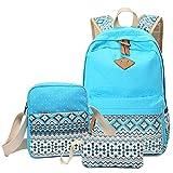 Hitop Geometry Dot Casual Canvas Backpack Bag, Fashion Cute Lightweight Backpacks + Shoulder Bag + Purse / Pen case for Teen Young Girls (Blue(1 set))