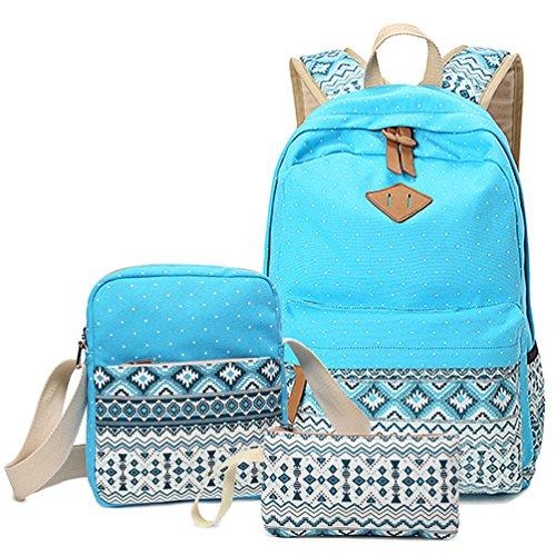 HITOP Cute Backpack for Teen Girls, Teens School Bookbag Bag Set, Laptop Bag Shoulder Bag Pencil Bag 3 in 1 (Blue)