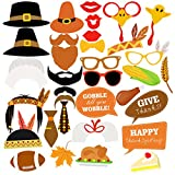 BESTOYARD Thanksgiving Photo Booth Props Happy Thanksgiving Day Photo Prop Kit Decorations 34pcs