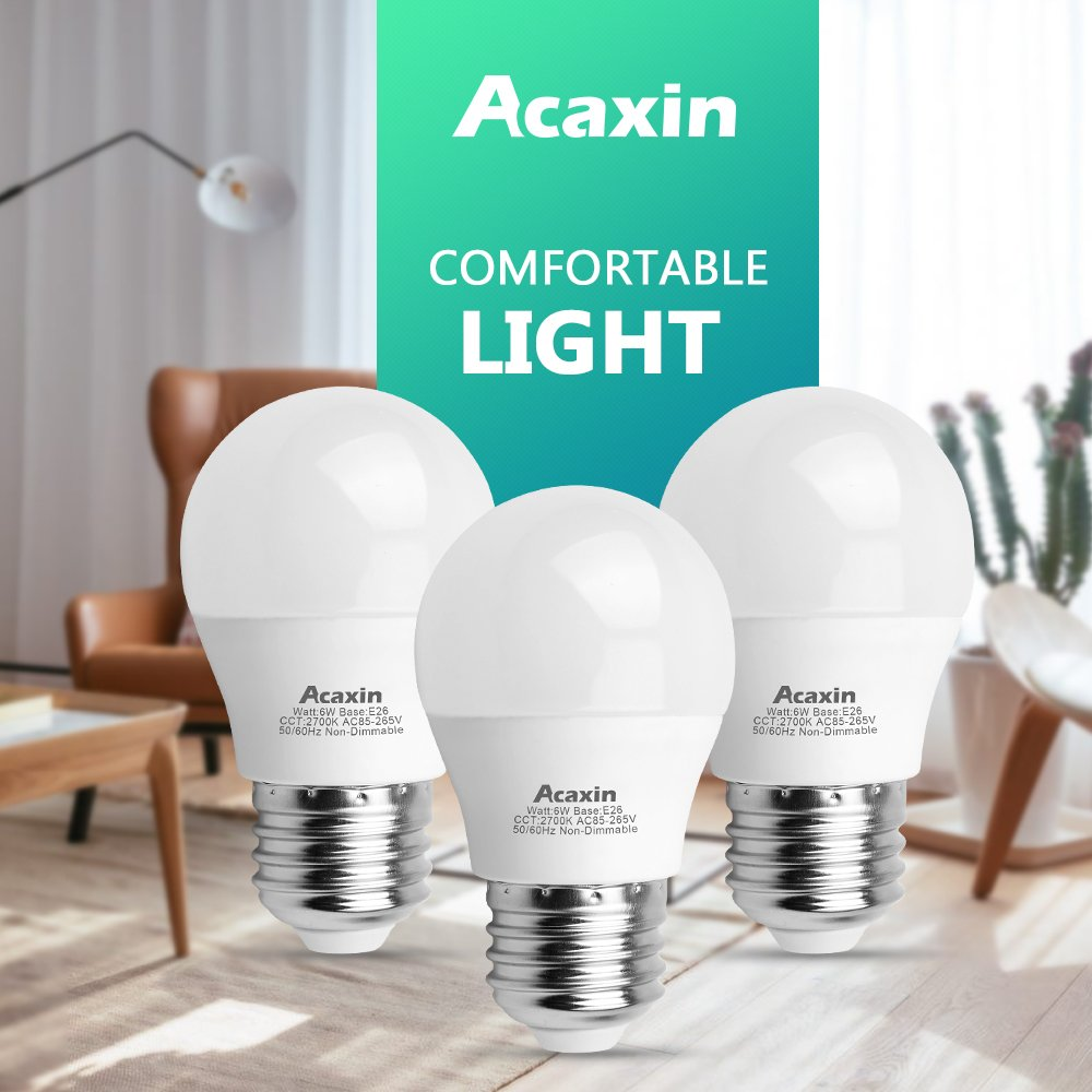 A15 LED Bulb, Acaxin A15 LED Lights 60W Equivalent,E26 Medium Base 2700K Warm White 600 Lumen Non-Dimmable E26 LED Bulb for Home Lighting,6 Pack