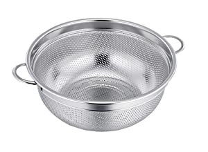 TeamFar Stainless Steel Micro-perforated Dishwasher Safe Compact Colander Food Strainer with Solid Handles, Elevation Base and Mini Holes, 3 Quart, Silver