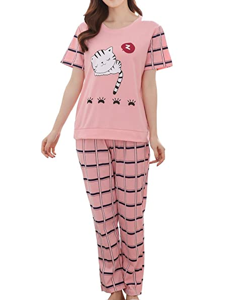 56f308b3b9 Image Unavailable. Image not available for. Color  MyFav Big Girls  Cute Sleepy  Cat Pajama ...