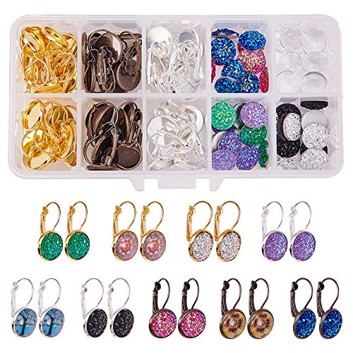 SUNNYCLUE 1 Box DIY 24 Pairs 3 Color Druzy Cabochon Leverback Earrings Making Starter Kit 48pcs Lever Back Hoop Bezel Earring Settings, 12mm Druzy Resin Cabochons & Clear Glass Cabochons ()