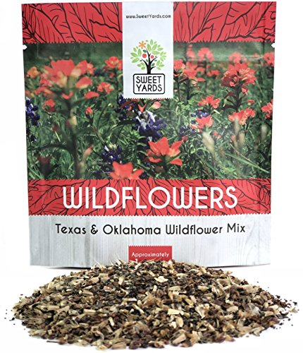 (Texas Oklahoma Wildflower Seeds Mixture - Bulk 1 Ounce Packet - Over 15,000 Native Seeds - Open Pollinated and Non GMO)