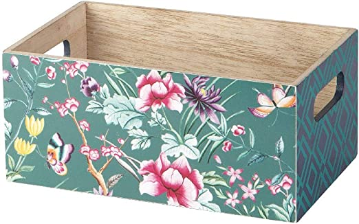 KASA Caja Decorativa de Madera en Verde Oscuro con un Patrón ...