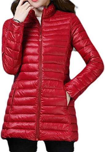 Spirio Mens Hooded Zip-Up Thicken Classic Stand Collar Quilted Long Down Jacket