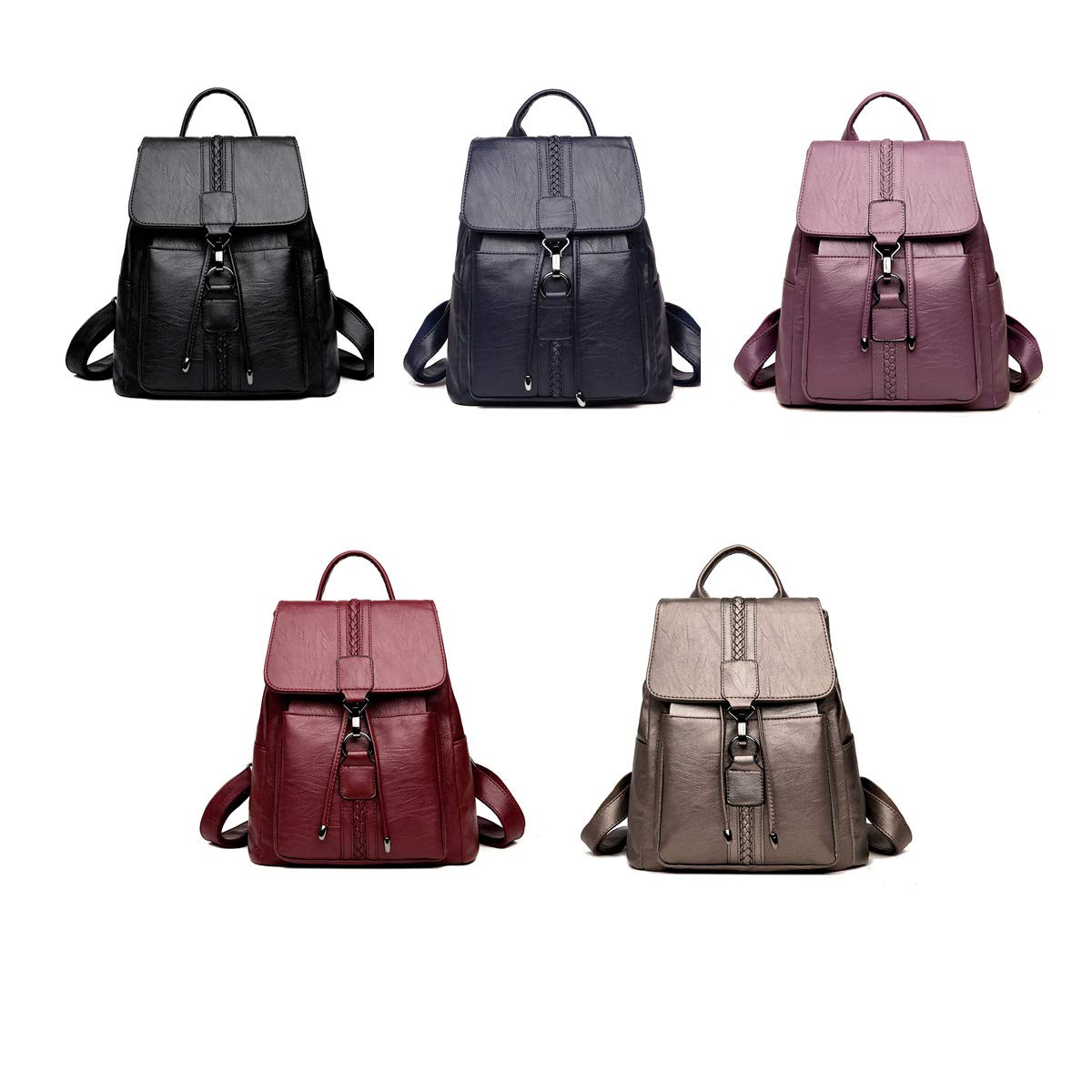 Color : Bronze, Size : 32cm28cm14cm PU Leather Haoyushangmao Girls Multi-Purpose Backpack for Daily Travel//Outdoor//Travel//School//Work//Fashion//Leisure Generous and Simple. Five Colors