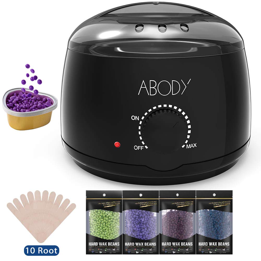 Wax Warmer, Abody Hair Removal Waxing Kit with 4 Bags Hard Wax Bean, 5 Small Heart-shaped Tins Bowls, 10pcs Wax Applicator Sticks, Wax Heater for Rapid Removing Hair of All Body, Legs, Face and Bikini