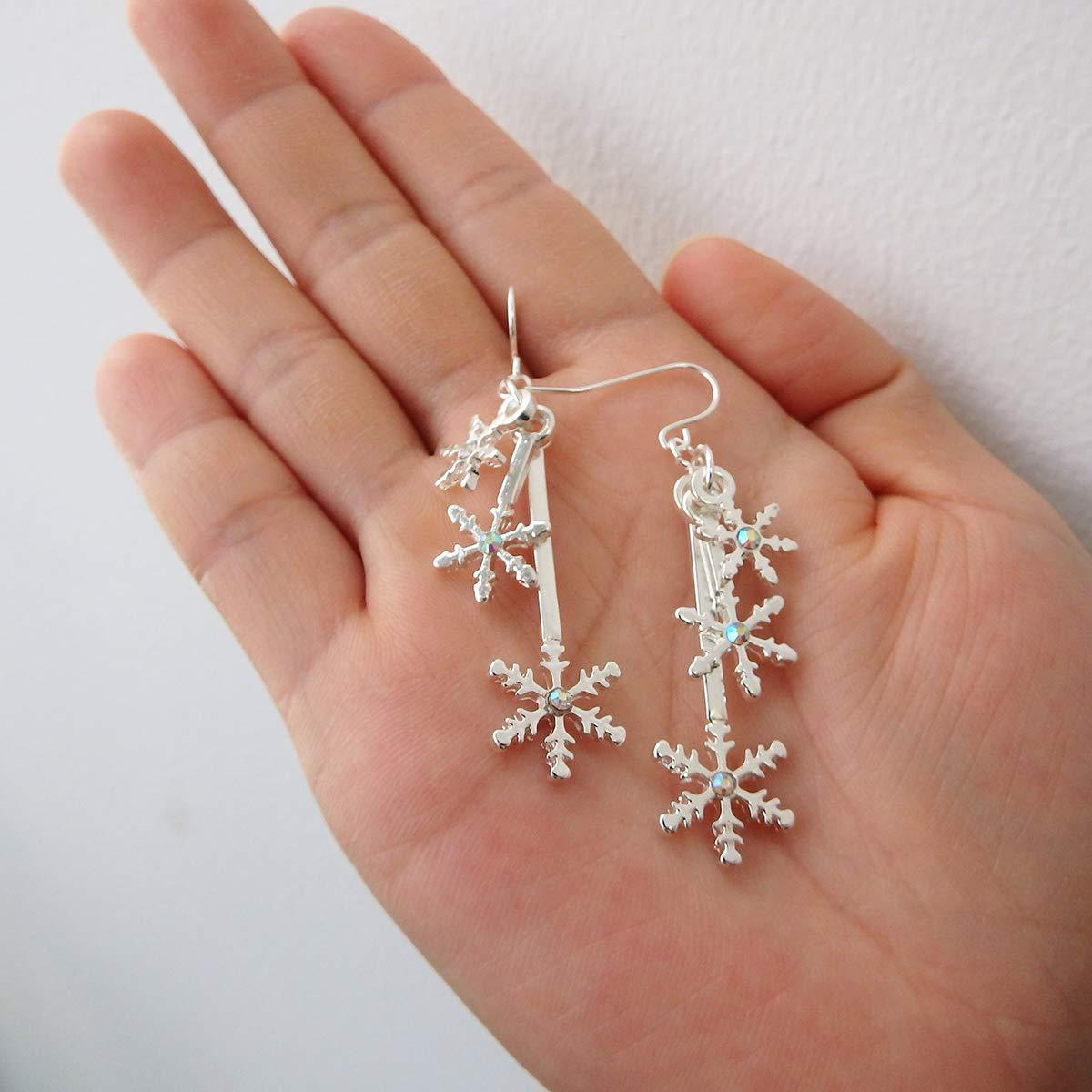 Christmas Snowflake Piercing Dangle Earrings Lightweight CZ Rhinestone Alloy Silver Women Girl XMAS Gift