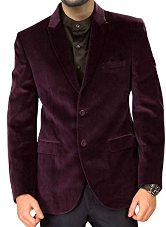 4fe67aa980301 INMONARCH Mens Slim fit Casual Mulberry Velvet Coat Handsome Two Button  VB23L34 34 Long Mulberry