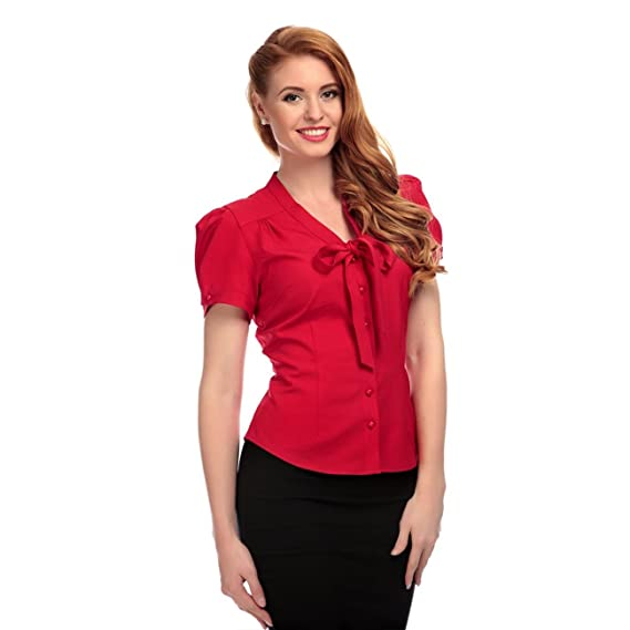 10c80a8566 Collectif Vintage Women s Tura Pussy Bow Blouse Top Red  Amazon.co.uk   Clothing