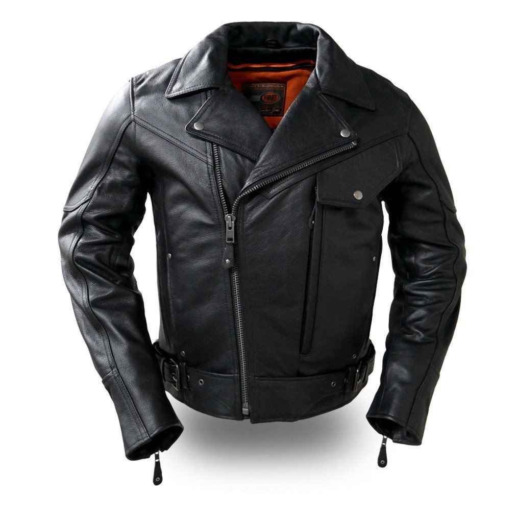 First Manufacturing Mens Motorcycle Pistol Pete Closeout price Leather Jacket premium Heavy leather (5XL Regular)