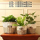 Pure handicraft Storage Baskets Storage basket Flower Pot Willow Garden flowerpot Home decoration Products,C,28X20cm