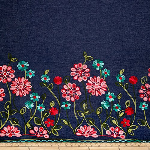 TELIO Denim Embroidered Single Border Floral Red/Turquoise/Pink Fabric by The ()