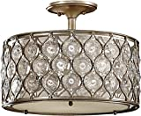 "Feiss SF289BUS Lucia Glass Semi Flush Ceiling Lighting, Satin Nickel, 3-Light (16""Dia x 13""H) 180watts"
