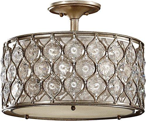 Feiss SF289BUS Lucia Glass Semi Flush Ceiling Lighting, Satin Nickel, 3-Light (16