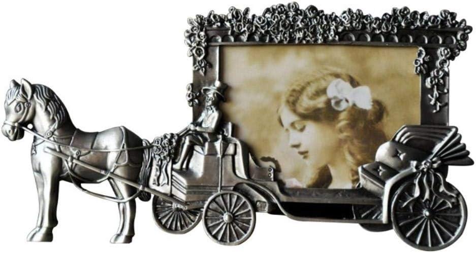 LHSX - Marco de fotos vintage para carruaje de caballos de color blanco, 12,7 cm