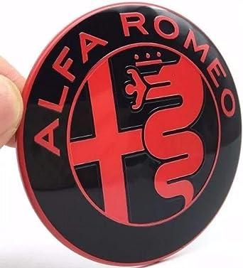 2 Embleme Für Alfa Romeo Schwarz Und Rot Logo 74 Mm Vorne Hinten Emblem Rot And Black 147 156 159 Brera Mito Metall Beleuchtung