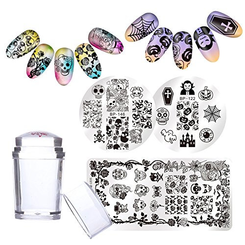 BORN PRETTY 3Pcs Nail Art Stamp Templates Image Plates Halloween Pumpkin Skull with 1Pc Jelly Silicone Stamper manicuring Stamping -