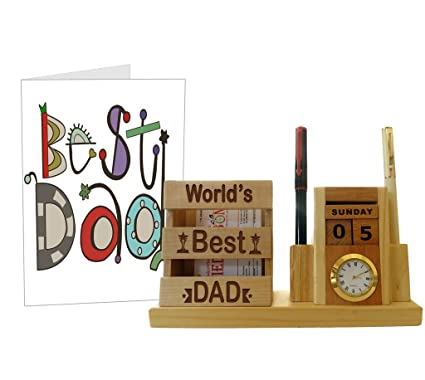 Tied Ribbons Gifts for Father Birthday from Daughter Wooden Pen Stand with  Greeting Card, Multicolour