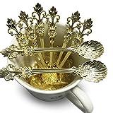 Mini Spoons Set of 8 by Movalyfe Kitchen - Coffee Espresso Demitasse Vintage Tea Spoon 4.5' Long (Gold)
