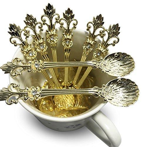 (Mini Spoons Set of 8 by Movalyfe Kitchen - Coffee Espresso Demitasse Vintage Tea Spoon 4.5
