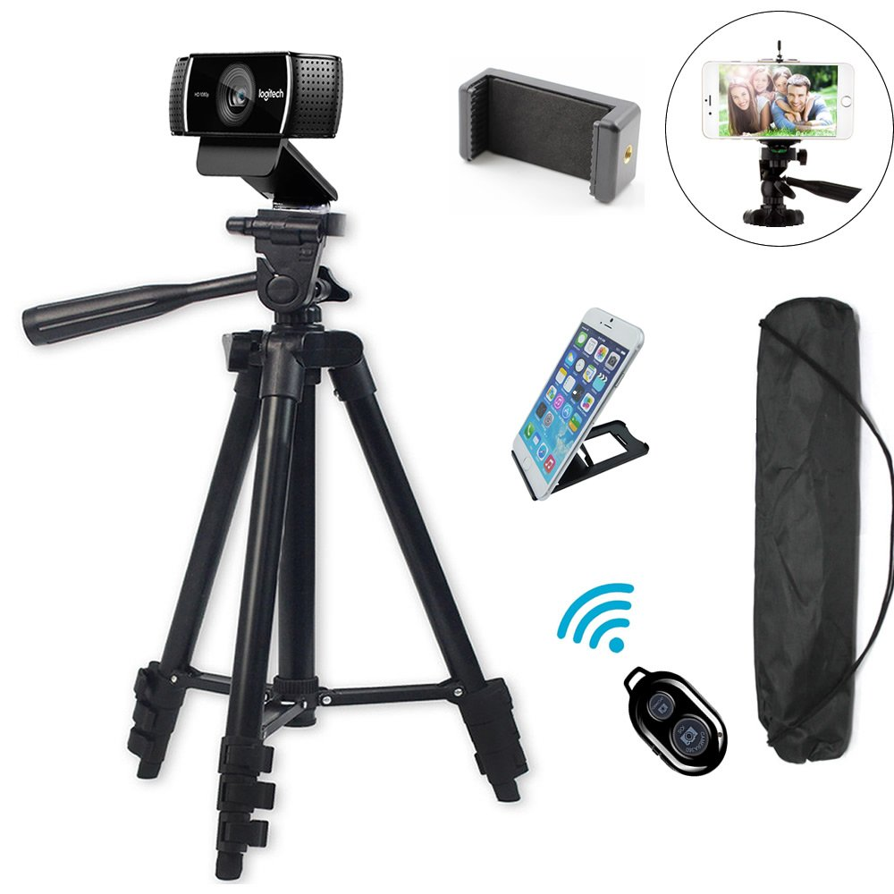 Professional Camera Tripod Mount Holder Stand for Logitech Webcam C930 C920 C615,iPhone,Cellphone,Cameras with Cell phone Holder Clip and Remote Shutter -42''/Black