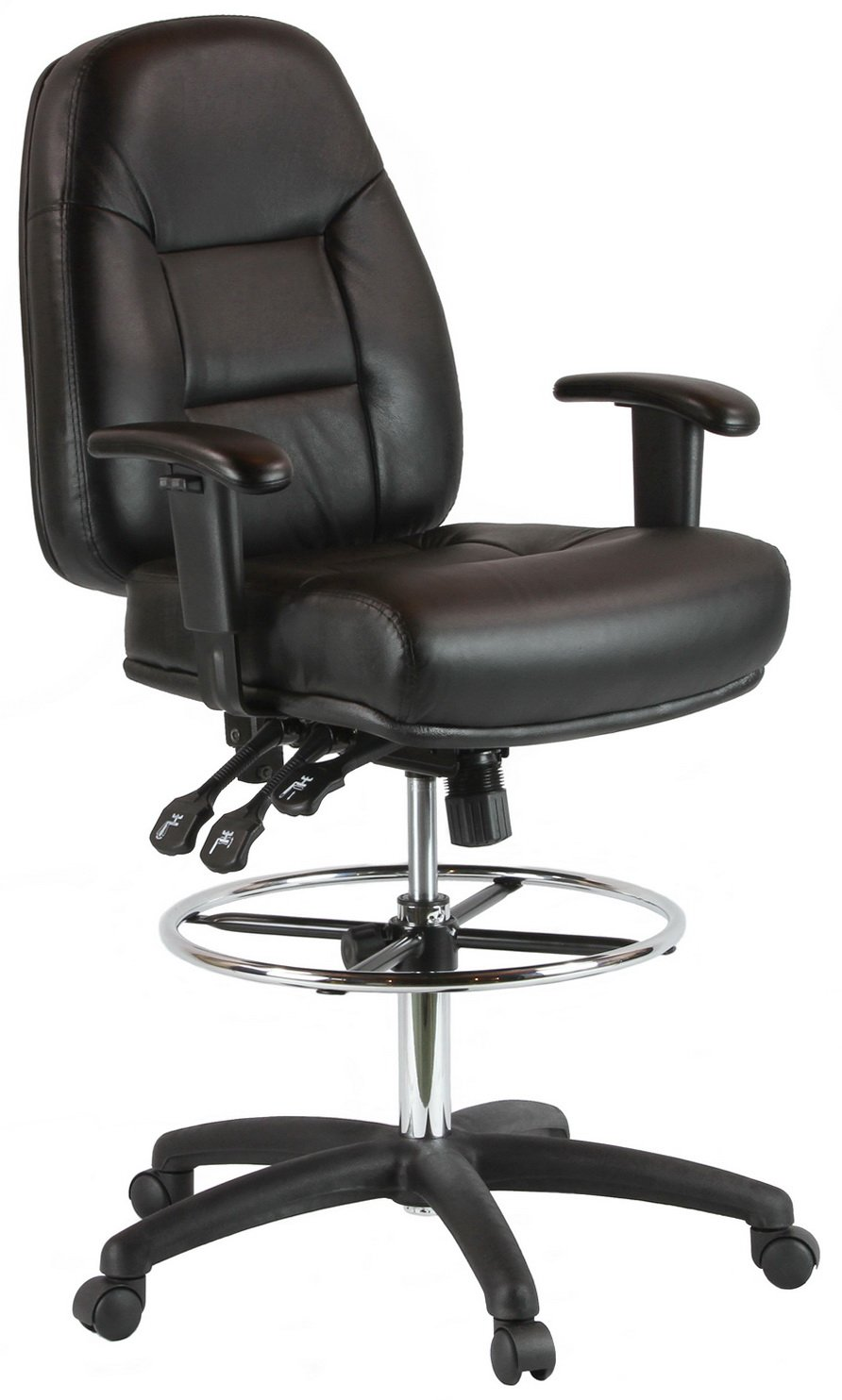 Harwick Premium Leather Drafting Chair with Arms Black by Harwick