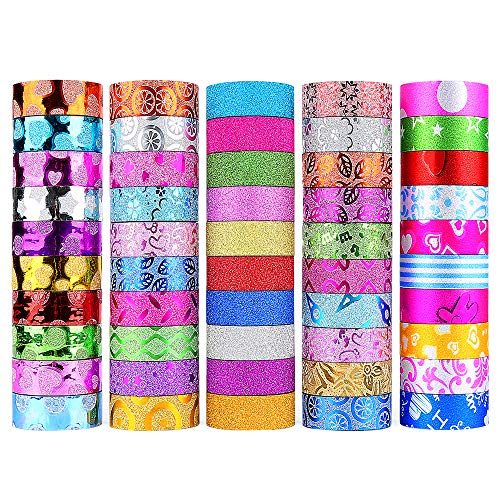 WEfun Glitter Washi Tape,50 rolls Decorative Tape for Arts and Crafts, Scrapbook,DIY,Gift Wrapping,Party Supplies, Multi-purpose with Colorful Designs and Patterns