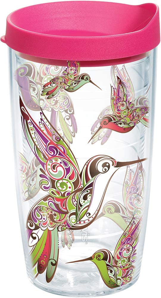 Tervis Hummingbirds Wrap 16oz Tumbler with Fuchsia Lid, Clear - 1071801