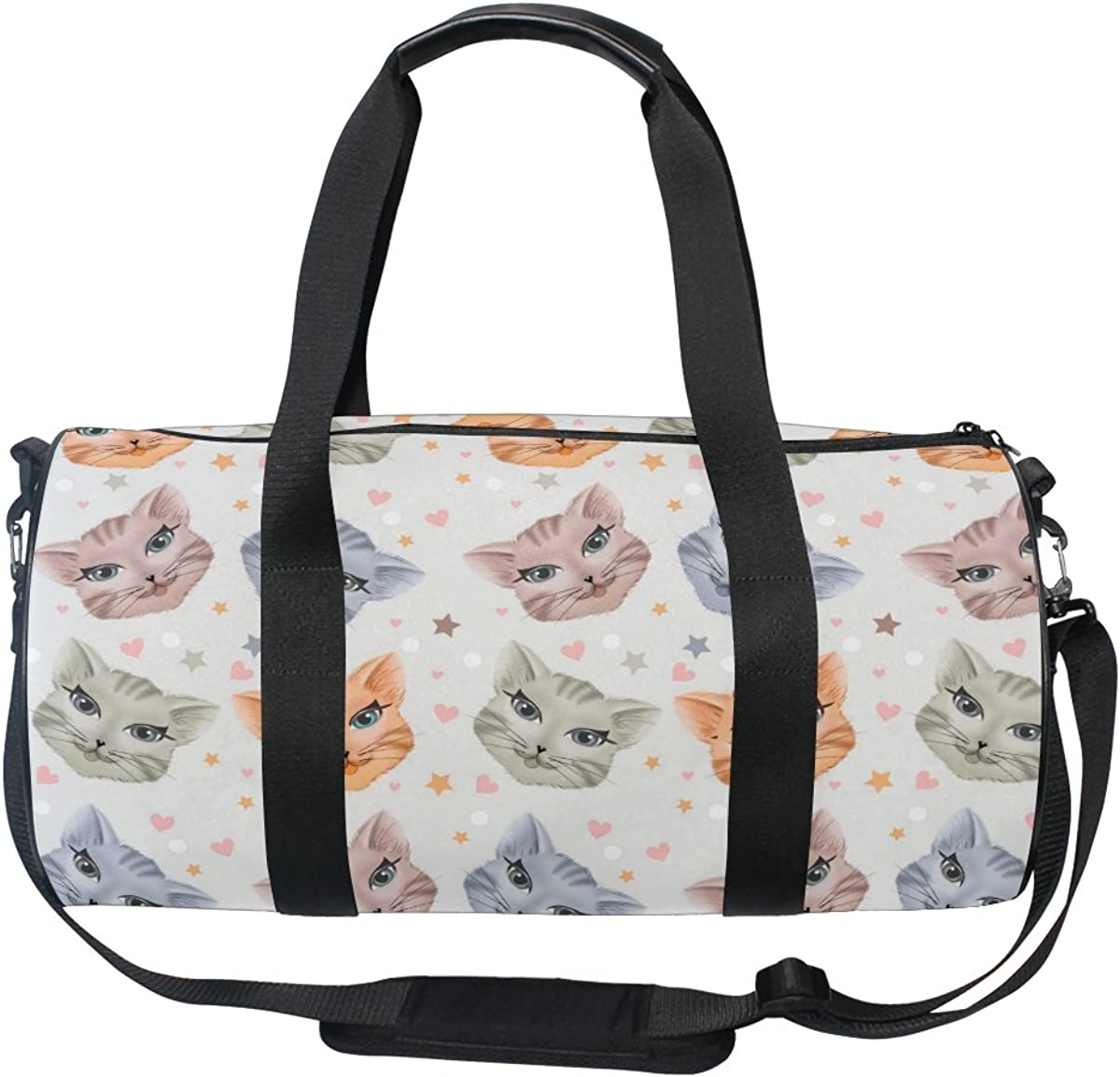 Travel Duffels Lovely Smile Cats Duffle Bag Luggage Sports Gym for Women /& Men