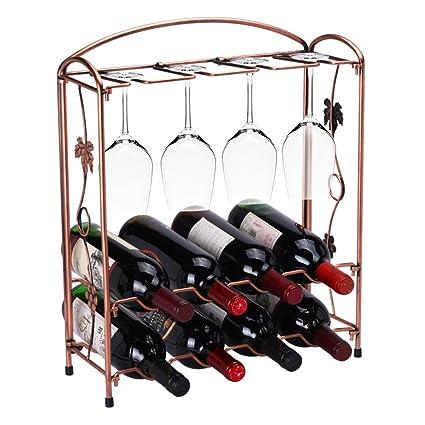 Tabletop Wine Bottle Rack Holder Countertop Wine Glass Stemware Metal Rack 8 Wine Bottles 4 Wine  sc 1 st  Amazon.com & Amazon.com: Tabletop Wine Bottle Rack Holder Countertop Wine Glass ...