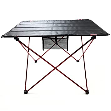QQWWEE Mesa Plegable De Aluminio para Exteriores, Peso Ligero ...