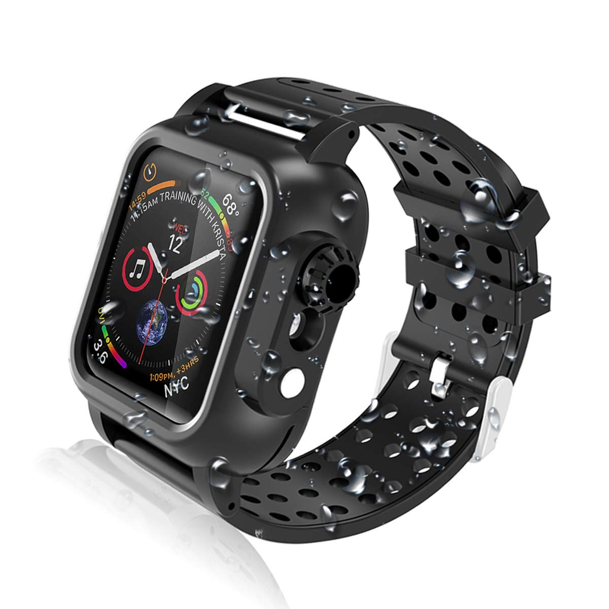 Realproof Apple Watch Case Series 4 44mm with Premium Soft Silicone Band, Waterproof Dropproof Shockproof Impact Resistant Rugged Protective iWatch 4 Case Bulit-in Screen Protector