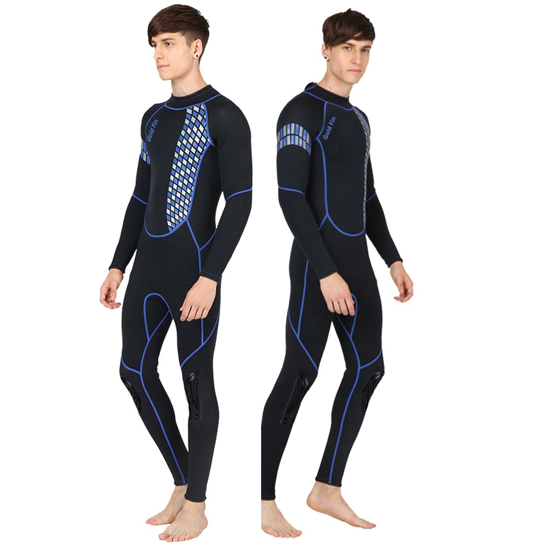 GoldFin Full Wetsuits 3mm Neoprene Wetsuit, Back Zip Long Sleeve for Diving Surfing Snorkeling-One Piece Wet Suit for Men (Blue, 3XL)