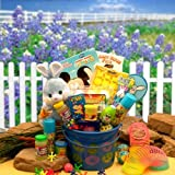 Easter Gift Basket for Boys Bunny Blue Pail of Easter Fun