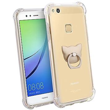 Huawei P10 Lite Funda, FoneExpert® Transparente Clear Carcasa Cover Case Funda de gel TPU silicona con anillo de apoyo de rotación de 360 ° Para ...
