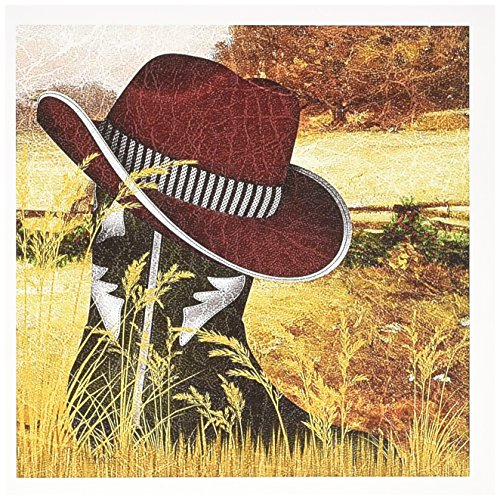 3dRose Western Green Cowboy Boot with A Red Cowboy Hat for Christmas Greeting Cards, Set of 6 (gc_173006_1) (Hat Invitations Red)
