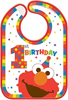 Sesame Street 1st Birthday 'Elmo Turns One' Plastic Birthday Bib (1ct)