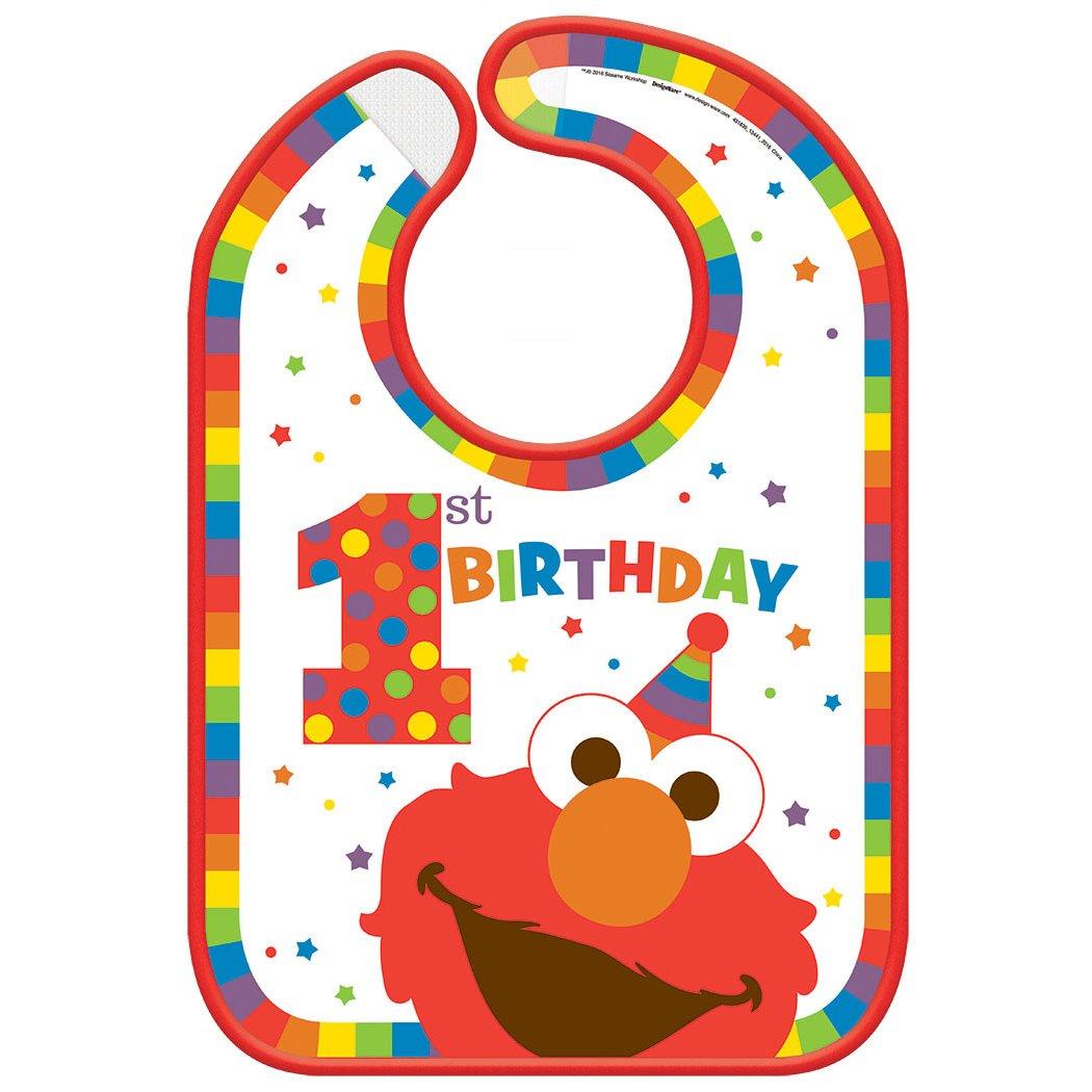 Amscan Sesame Street Elmo Turns One Baby Bib, Birthday One Size, Multicolor