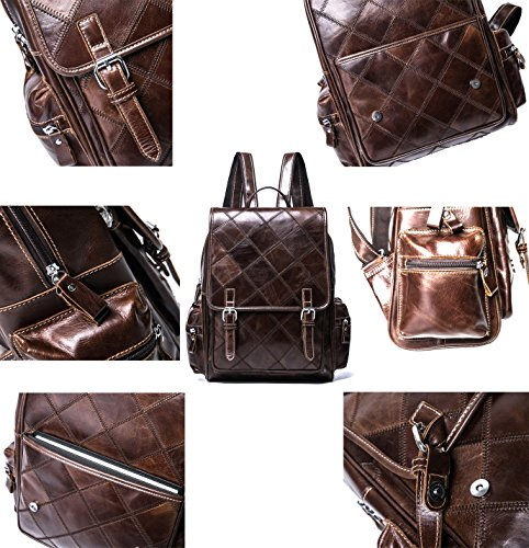 VM FASHION KISS Zipper&hasp Casual Crazy Horse Genuine Leather Backpack vintage Bag by VM FASHION KISS (Image #4)'