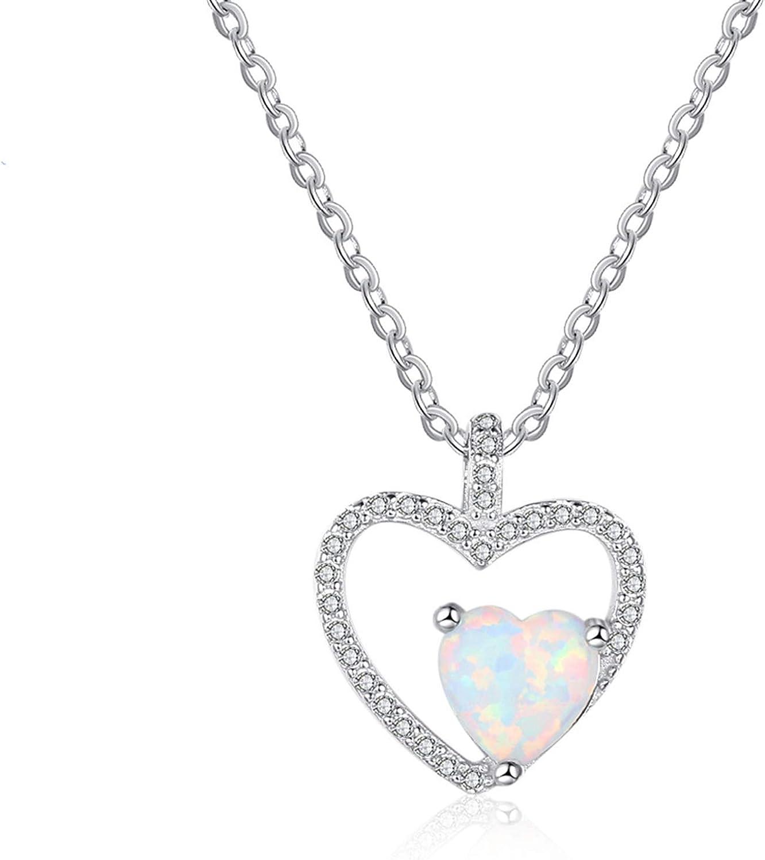 Aooaz Womens Ladies Silver Pendant Necklace Love Heart Cut Cubic Zirconia Necklace Retro Wedding Promise