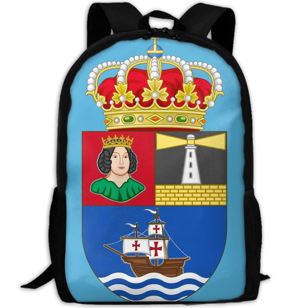 ZQBAAD Coat Of Arms Of The Chafarinas Islands Luxury Print Men And Women's Travel Knapsack