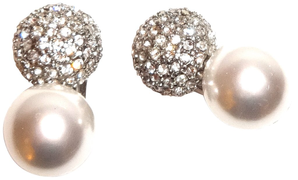 KENNETH JAY LANE - PAVE SILVER CRYSTAL AND PEARL CLIP EARRINGS